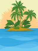 Island with palm and sun