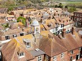 View of the rooftops of Rye in East Sussex, England