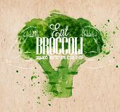 Broccoli watercolor poster
