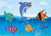 Cartoon Sea Theme - vector illustration