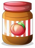 Illustration of a bottle of fruit jam on a white background