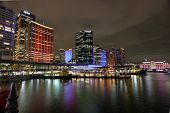 Circular Quay And Sydney City Buildings In Colour During Vivid Sydney