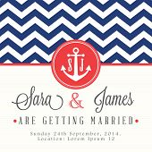 pic of chevron  - Nautical wedding invitation card - JPG