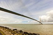 Honfleur, France - May 12, 2014: Pont de Normandie bridge crossing the Seine river between Le Havre