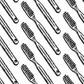 Sketch Tooth Brush, Vector Seamless Pattern