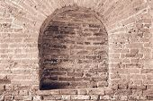 Brick Wall Light Brown Color With A Arch In Niche