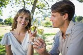 Cute smiling couple sitting outside toasting with champagne on a sunny day