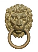 stock photo of door-handle  - Old medieval bronze door knocker in shape of lion head isolated on white background - JPG