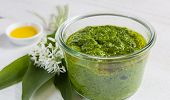 With Wild Garlic Pesto In A Glass