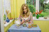 Girl Prepare Herb Mint Balm Leaf Tea In Retro Cup