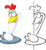 Hen Hold Egg Peeking Around The Corner - Cartoon Illustration