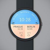 Smart watch interface template. Arrivals and departures smartwatch mockup. Vector illustrations