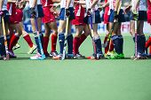 THE HAGUE, NETHERLANDS - JUNE 1: Team USA and Team England shaking hands after the matc during the H