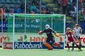 THE HAGUE, NETHERLANDS - JUNE 1: The ball shot by team USA on its way to the goal. The goalkeeper of