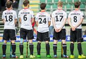 THE HAGUE, NETHERLANDS - JUNE 1: The German hockey team is lined up for the anthem during the Hockey World Cup 2014 (men)