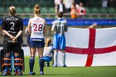 THE HAGUE, NETHERLANDS - JUNE 1: The English hockey team is lined up with their flag during the Hock