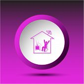 Home watching TV. Plastic button. Vector illustration.
