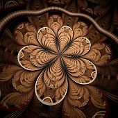 Symmetric Colorful Dark Gold Fractal Flower,