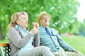 Carefree mature couple blowing bubbles seated on bench in park