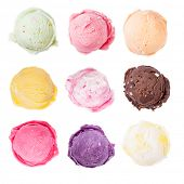 picture of gelato  - Studio shot of isolated ice cream scoops on white background - JPG