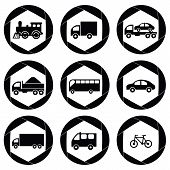 Transport monochromatic icons.