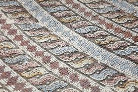 stock photo of minotaur  - Corner decoration from the Roman mosaic of Theseus and the Minotaur at the Villa of Theseus - JPG