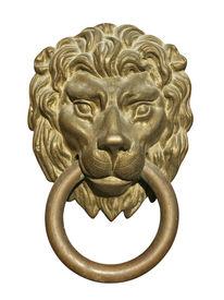 stock photo of door-handle  - Old medieval bronze door knocker in shape of lion head isolated on white background - JPG