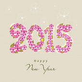 Happy New Year celebration greeting card design with pink flowers decorated text 2015 on beige background.