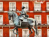 King Philip Iii Equestrian Statue Plaza Mayor Cityscape Madrid Spain