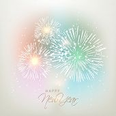 Happy New Year celebration background with shiny firework and stylish text on grey background, can be used as poster, banner or flyer.