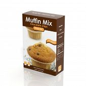 3D Muffin Mix paper package isolated on white