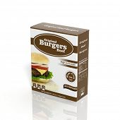 3D frozen Burger paper package isolated on white