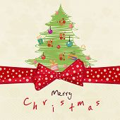 Merry Christmas greeting card decorated with beautiful X-mas tree and red ribbon on beige background.