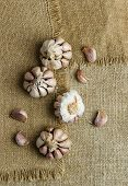 Cloves Of Garlic Over Burlap