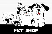 pet shop sign with cartoon animals