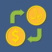 Currency Exchange. Dollar And Rial.