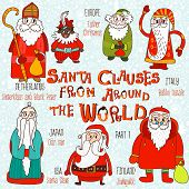 Постер, плакат: Christmas Set Santa Clauses From Around The World Part 1:santa Claus Joulupukki odzi san babbo N