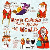 Christmas Set - Santa Clauses From Around The World. Part 2: Pope Pascual, La Befana, Pere Noel, San