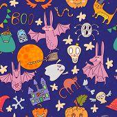 Cartoon Vector Halloween Seamless Pattern. Cute Halloween Symbols In Cartoon Style.