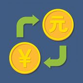 Currency Exchange. Yen And Yuan.