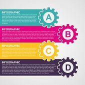 Infographic Design Style Colorful Gears.