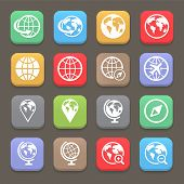 Globe earth flat icon set . Vector illustration