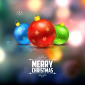 illustration of colorful Christmas bauble on abstract background