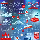 illustration of collection of calligraphic and typographic design for Christmas decoration