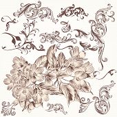 Vector Set Of Hand Drawn Swirl And Floral Elements In Vintage Style