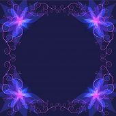 Decorative Luxury Frame With Blue Flower