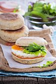 English muffin with egg for breakfast