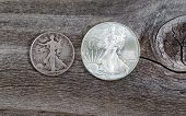 Silver Half Dollar And Dollar Coins