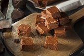 stock photo of chocolate fudge  - Homemade Dark Chocolate Fudge Ready to Eat - JPG