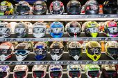 Colors Motorcycle Helmets On Display